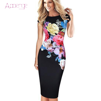Apoenge летом печати office dress для женщин 4xl элегантный bodycon платья плюс размер партии dress party dress vestido миди lz267