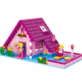 Enlighten City Blocks Diy Pink Family Villa Apartment Flats House Architecture Building Blocks Friends For Girl Compatible Lepin