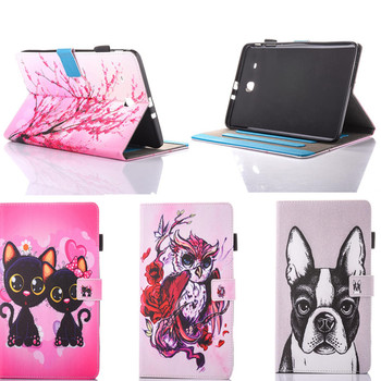 Tablet Stand Cover For Samsung Galaxy Tab E 9.6 T560 T561 SM-T560 PU Leather Painting Dog Panda Case with Card Holder