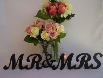 Wedding Mr & Mrs Wooden Letters Painted Black